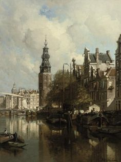 Johannes Christiaan Karel Klinkenberg A view of the Montelbaanstoren on a Sunlit Day, Amsterdam oil on canvas Amsterdam Art, Medieval Life, Dutch Painters, Dutch Artists, Old Paintings, City Art, Old Master, Art And Architecture, Art World