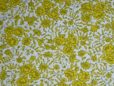 "Vtg Heavy Cotton Fabric Tiny Yellow Flowers 38"" x 2.5 yds"