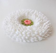 Romantic Country style bathroom washcloth or Smell cushion in White with Salmon Flower. $39.00, via Etsy.