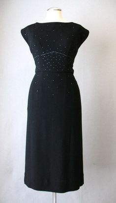 Vintage 50s Cocktail Dress Black with Rhinestones Medium bust 38 at Couture Allure Vintage Clothing