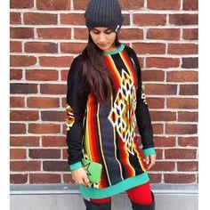A-Bomb Apparel Aztec Fleece Hoodie Dress #hoodiedress #hoodie #sweatshirt #abombapparel #abomb #womensfashion #fashion #winterfashion #tallhoodies #blackandwhite #tallhoodie #girlfashion #aztec