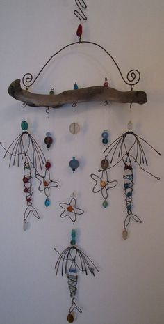 Mermaid Sea Goddess Ocean Driftwood Sun Catcher by Driftwood Crafts, Wire Crafts, Diy And Crafts, Arts And Crafts, Driftwood Mobile, Carillons Diy, Diy Wind Chimes, Beach Crafts, Sun Catcher