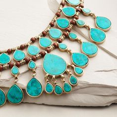 One of my favorite discoveries at WorldMarket.com: Gold and Turquoise Layered Teardrop Statement Necklace