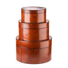 Hamilton round set of boxes, cognac Hamilton, Boxes, Leather, Furniture, Decoration, Home Decor, Collection, Accessories, Decor