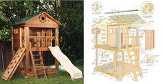 Amazing kids playhouse plans. This tower style playhouse plan is fantastic. Detailed and fun. Use this as the tower end to anchor a swing set.