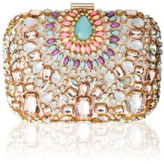 Vintage Styler Pastel Embellished Clutch Bag (€62) ❤ liked on Polyvore featuring bags, handbags, clutches, borse, gold handbag, embellished handbags, embellished purses, light pink handbag and gold clutches