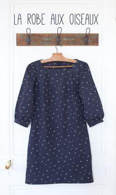 La petite robe - Tissu nocturne à oiseaux - patron Vanessa Pouzet