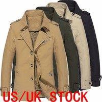 f29537899f L-5XL Men's Fashion Fleece Single-breasted Military Sticken Coat Trench  Parka Windbreaker Jacket