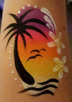 Palm tree tropical sunset arm cheek - New Sites Face Painting Images, Girl Face Painting, Leg Painting, Face Painting Designs, Paint Designs, Face Paintings, Acrylic Paintings, Rock Painting, Art Visage
