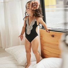 fd50e00594a52 Mom Girl Solid Color Cold Shoulder One Piece Matching Swimwear ...