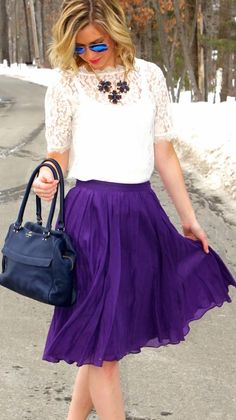 J. Crew Purple Pleated Skirt. #Purple = My current favourite colour. Pair with yellow for an electric contrast as Purple and yellow are composite colours.