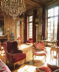 SALON OF Alexis de Rede aka le BARON de RÉDÉ ~ He lived in a magnificent apartment in l'Hotel Lambert on the Ile Saint Louis, Paris from 1949 until his death in 2004. Hotel Lambert, home of the late Baron Guy de Rothschild and his wife Marie-Hélène was named for its original owner John-Baptiste Lambert, private secretary to Louis XIII. Voltaire lived there briefly in the 1730s