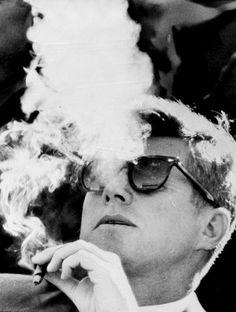 JFK smoking a cigar, 1960s