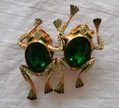 VTG-CORO-Duette-Sterling-Green-Faceted-GLASS-BELLY-FROGS-Need-Stones-FREE-SHIP