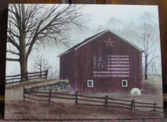 """Flag Barn - Billy Jacobs 12"""" by 16"""" canvas print at the Cottage Gift Shop - Elmira, NY"""