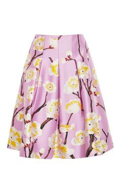Oscar de la Renta Floral-Print Pleated Skirt -   The silk and wool blended skirt is a masterful creation made in Italy. Featuring a delicate lilac print of Japanese cherry-blossoms, this flared skirt's classic paneled pleat detailing is a signature piece from the timeless designer.