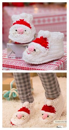 Crochet Child's Santa Slippers Free Pattern: