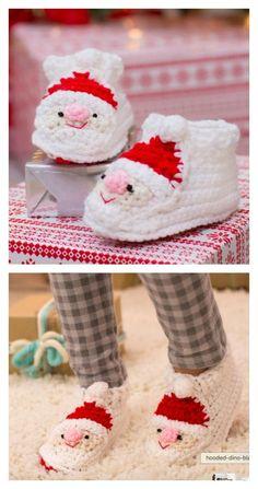 Crochet Child's Santa Slippers Free Pattern: