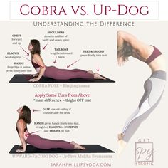 What's the difference between Up-dog and Cobra pose?  Not a whole lot.  ;)  Use this guide for your next practice and check out my other SPY tips on my page. Thank you!  Check back soon for more... #YogaTutorials #YogaPoses #UpwardFacingDog #CobraPose #Yoga