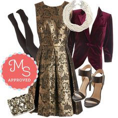 In this outfit: Crisp Champagne Dress, Fine and Sandy Blazer in Burgundy Velvet, With the Greatest of Fleece Tights in Black, Forever Your Pearl Necklace, Right From the Strut Heel, A Time to Treasure Bracelet #fancy #specialoccasion #velvet #gold #brocade