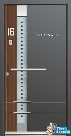 Haustüre mit Holzdekor und Glas: AGE 1163