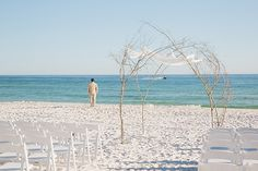Ceremony space with canopy at Watercolor, Florida beach destination wedding Photos by: goodegreen.com