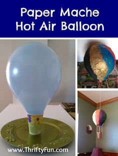 This guide is about making a paper mache hot air balloon. You can make a cute little paper mache hot air balloon with just newspaper strips, flour, water, paints, and an inflated balloon. Paper Mache Balloon, Hot Air Balloon Paper, Balloon Crafts, Hot Air Balloon Craft For Kids, Paper Mache Pinata, Balloon Balloon, Balloon Ideas, Crafts With Balloons, Hot Air Balloons
