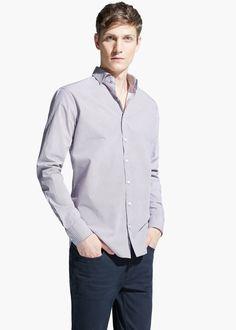 Slim-fit mosaic print shirt
