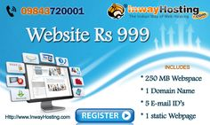 Get Website for Rs.999 with Domain,Hosting,Professional E-Mail Id's, and 1 Static webpage