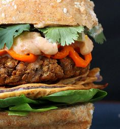 Vegan Richa: Red Lentil Cauliflower Burger with Chipotle Habanero Mayo, Onion Rings, Roasted peppers. Vegan Recipe