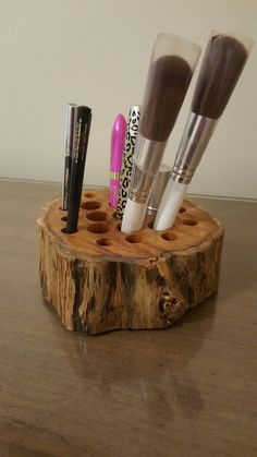 Rustic Wooden Makeup Organizer/Holder by LittleWoodCreations