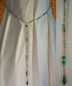 Medieval Renaissance Costume Girdle Belt SCA Garb Emerald Gold Faceted Crystals LXL. $40.00, via Etsy.