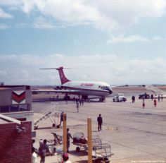 Air Malawi Vickers Standard VC10 (Series 1100) 7Q-YKH (c/n: 819) parking at the stand upon arrival at the Chileka International Airport (BLZ) in Blantyre, Malawi during 1977.