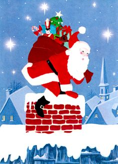 Curtis Swann embossed Christmas card Santa and chimney