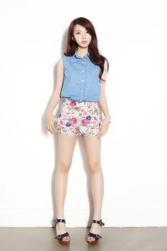 My sleeveless denim top with printed/patterned shorts, platform/wedge/sneaker