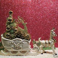 Vtg Lefton Reindeer W Golden Sleigh Bottle Brush Tree Jingle Bells Pine Cone