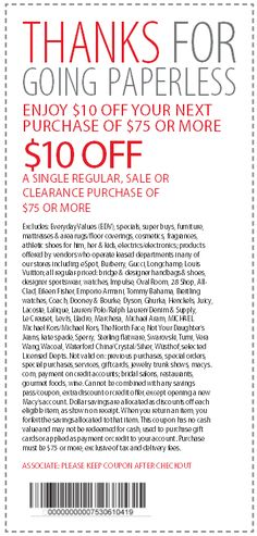 Macys Printable Coupons: $10 off $75 (Printable)