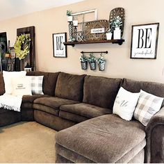 Our BE collection comes in two size options - these two are the larger sizes at 16x20. I love how Kelly @farmtotablecreations incorporated them into her dreamy living room! Looks like the perfect place to relax after a long day! . Happy Tuesday everyone! . #queenbhome #qbhome #queenbhomesign #livingroomdecor #livingroom #signmaker #bekind #farmhousestyle. SAVED BY WENDY SIMMONS Design Living Room, New Living Room, My New Room, Home And Living, Modern Living, Living Area, Cozy Living, Living Room Walls, Minimalist Living
