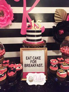 Kate Spade birthday party dessert table!