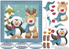From Us To You on Craftsuprint designed by Carol James - A cute and simple 7 x 7 Christmas topper with decoupage pieces and 2 sentiment tags (plus a blank tag)Sentiments include:Christmas Greetings Merry Christmas - Now available for download!