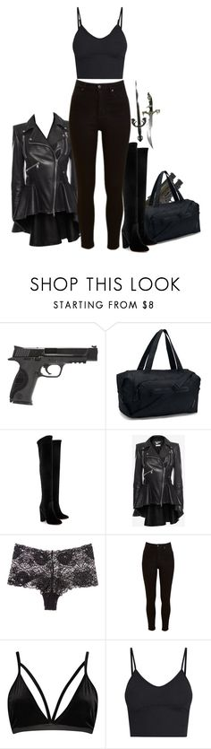 """""""// Dark Paradise + Alec - Mercy's battle outfit"""" by ridiculousness444 ❤ liked on Polyvore featuring Smith & Wesson, Under Armour, Aquazzura, Alexander McQueen, Hanro, Lee, Boohoo, BasicGrey and darkparadisebook"""