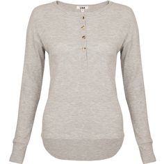 LnA Backtail Henley Tee - Heather Grey ($165) ❤ liked on Polyvore featuring tops, t-shirts, heather grey, scoop neck tee, layering tees, loose t shirt, scoop neck top and henley tops