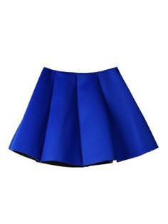 Shop Blue Pleated Skirt Mini Skater Skirt from choies.com .Free shipping Worldwide.$9.9