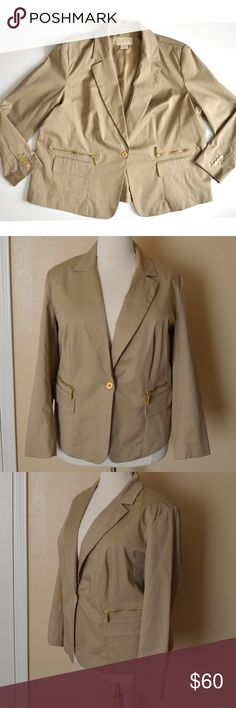 "Michael Kors Plus Tan Khaki Blazer Jacket size 24W A women's plus Michael Kors tan/khaki blazer in size 24W.  Single button front.  Shoulder padding.  Gold buttons and zippers.  Front zipper pockets and flap pockets.  Fully lined. Excellent, worn once, condition.  97% cotton 3% spandex  Measurements laying flat: Shoulders (top shoulder seam to top shoulder seam): 19.25"" Bust (armpit to armpit): 26.5"" Waist: 27"" Bottom hem width: 28.5"" Sleeve length (armpit to cuff): 17.5"" Total length (top…"