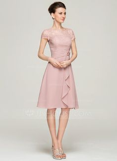 A-Line/Princess Scoop Neck Knee-Length Beading Flower(s) Sequins Cascading Ruffles Zipper Up Sleeves Short Sleeves No 2015 Other Colors Spring Summer Fall General Plus Chiffon Lace Mother of the Bride Dress