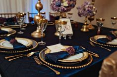 A Chair Affair - Featured on Occasions Online: Linda and Paul's gorgeous navy, gold, and orchid purple vow renewal is definitely worth reading our blog: http://rgn.bz/rSg7 Photo by Kismis Ink Photography, Planning by Linda Marie Weddings & Events, LLC.