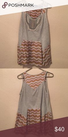 Anthropologie Tank So cute and comfortable!! Only worn once! Awesome embroidered detail and lose fitting. Anthropologie Tops Blouses