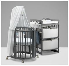Stokke Sleepi Mini Crib and Stokke Care Changing Table in Storm Grey – NEW!