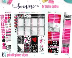 Be Mine Weekly Kit // Printable Planner Stickers // Cut Line Files // Planner Printable // Erin Condren // Recollections by BEaYOUtifulPlanning on Etsy