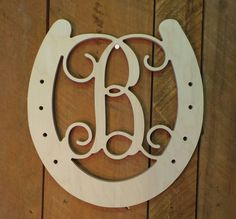 Wooden Monogram  Unfinished Vine Script Initial in by letterworld